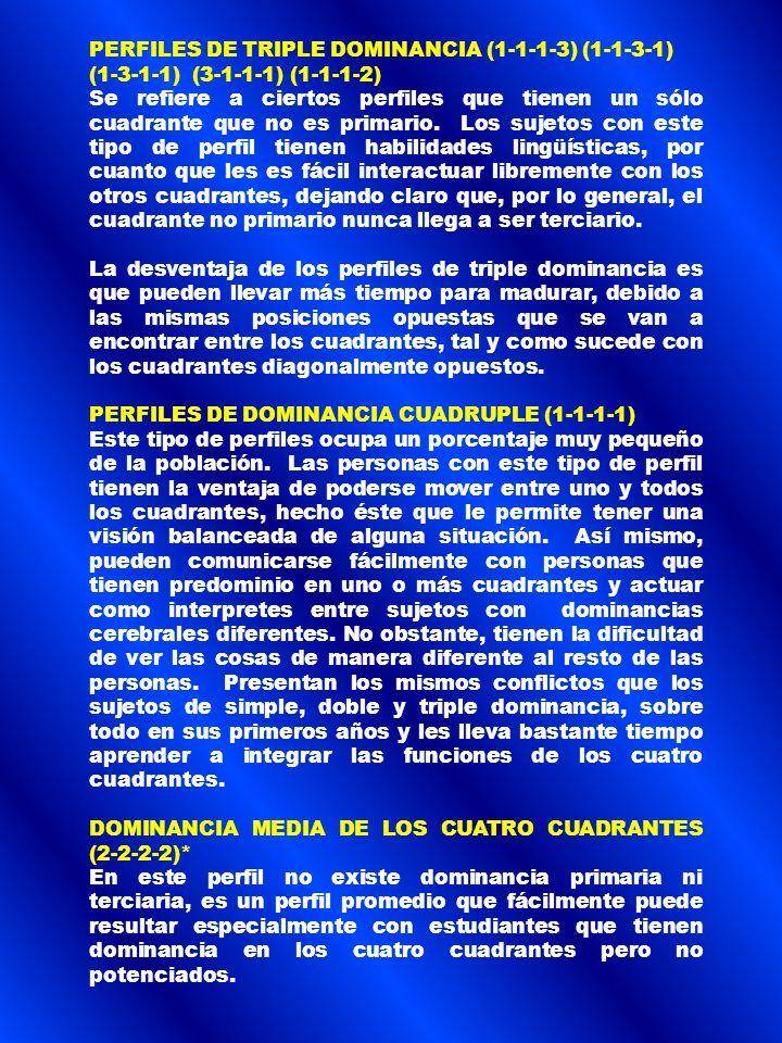 PERFILES DE TRIPLE DOMINANCIA (1-1-1-3) (1-1-3-1)
