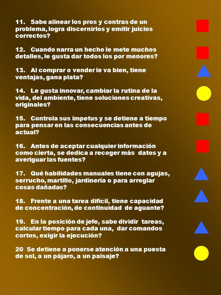 11. Sabe alinear los pros y contras de un problema, logra discernirlos y emitir juicios correctos