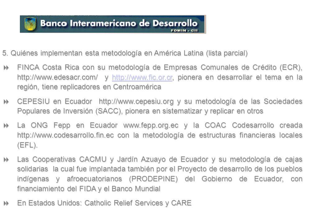 5. Quiénes implementan esta metodología en América Latina (lista parcial)