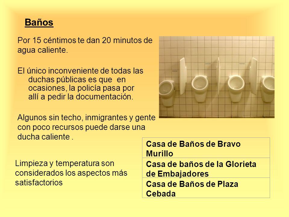 Baños Por 15 céntimos te dan 20 minutos de agua caliente.