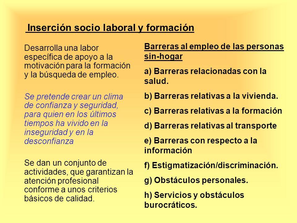 Inserción socio laboral y formación