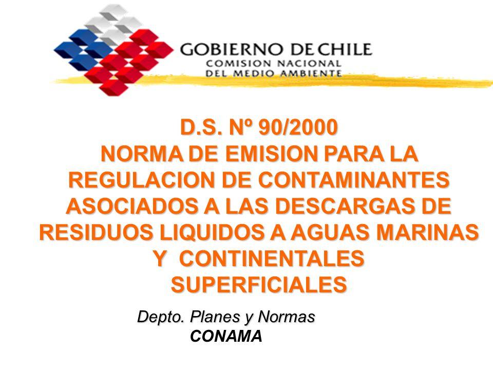 D.S. Nº 90/2000 NORMA DE EMISION PARA LA REGULACION DE CONTAMINANTES ASOCIADOS A LAS DESCARGAS DE RESIDUOS LIQUIDOS A AGUAS MARINAS Y CONTINENTALES SUPERFICIALES