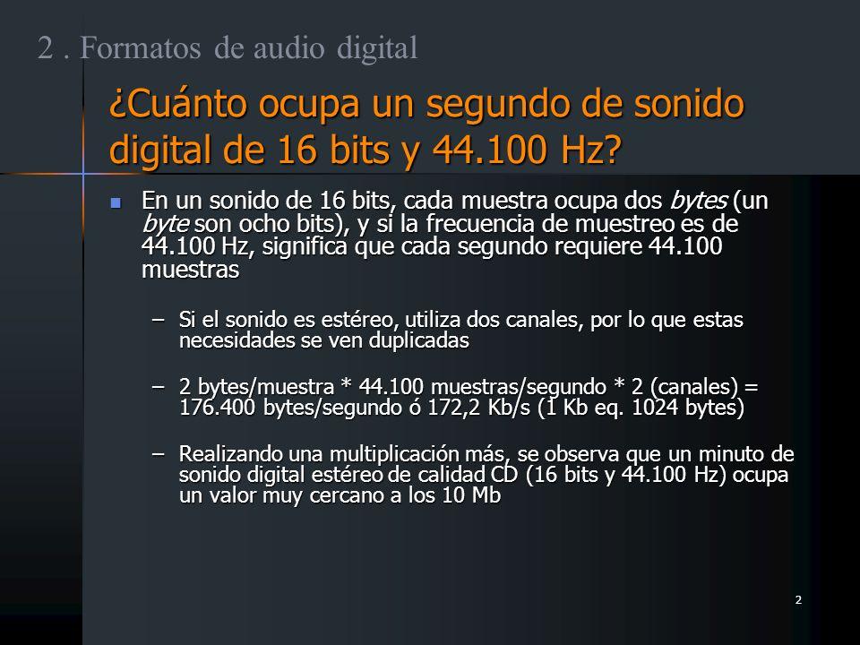 ¿Cuánto ocupa un segundo de sonido digital de 16 bits y 44.100 Hz