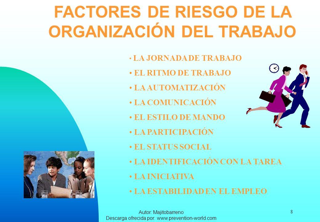 FACTORES DE RIESGO DE LA ORGANIZACIÓN DEL TRABAJO
