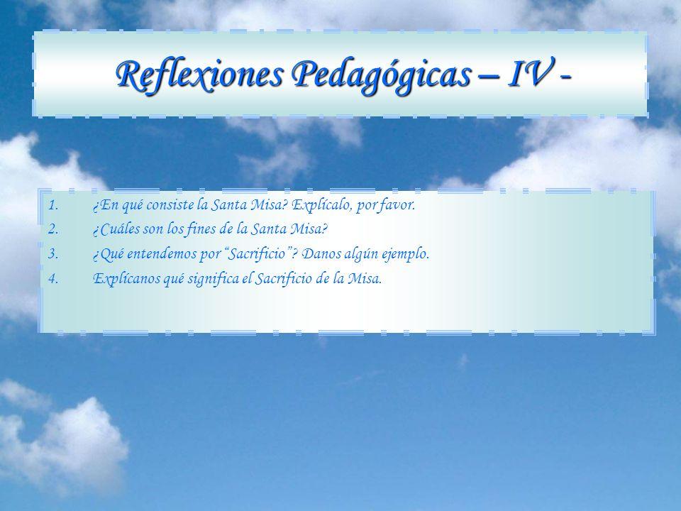 Reflexiones Pedagógicas – IV -