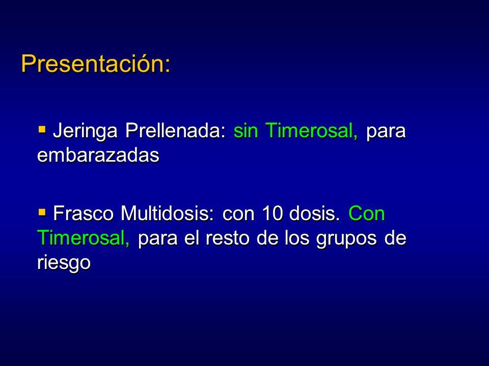 Presentación: Jeringa Prellenada: sin Timerosal, para embarazadas