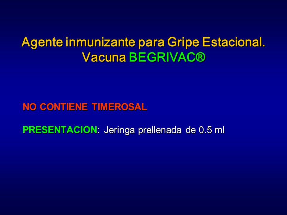 Agente inmunizante para Gripe Estacional. Vacuna BEGRIVAC®