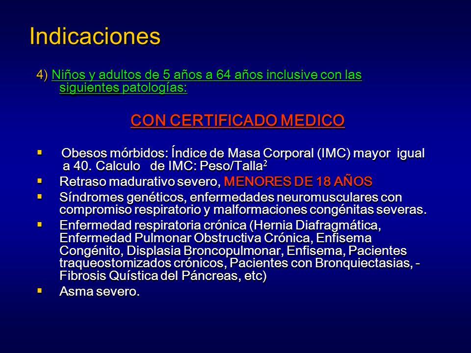 Indicaciones 4) Niños y adultos de 5 años a 64 años inclusive con las siguientes patologías: CON CERTIFICADO MEDICO.