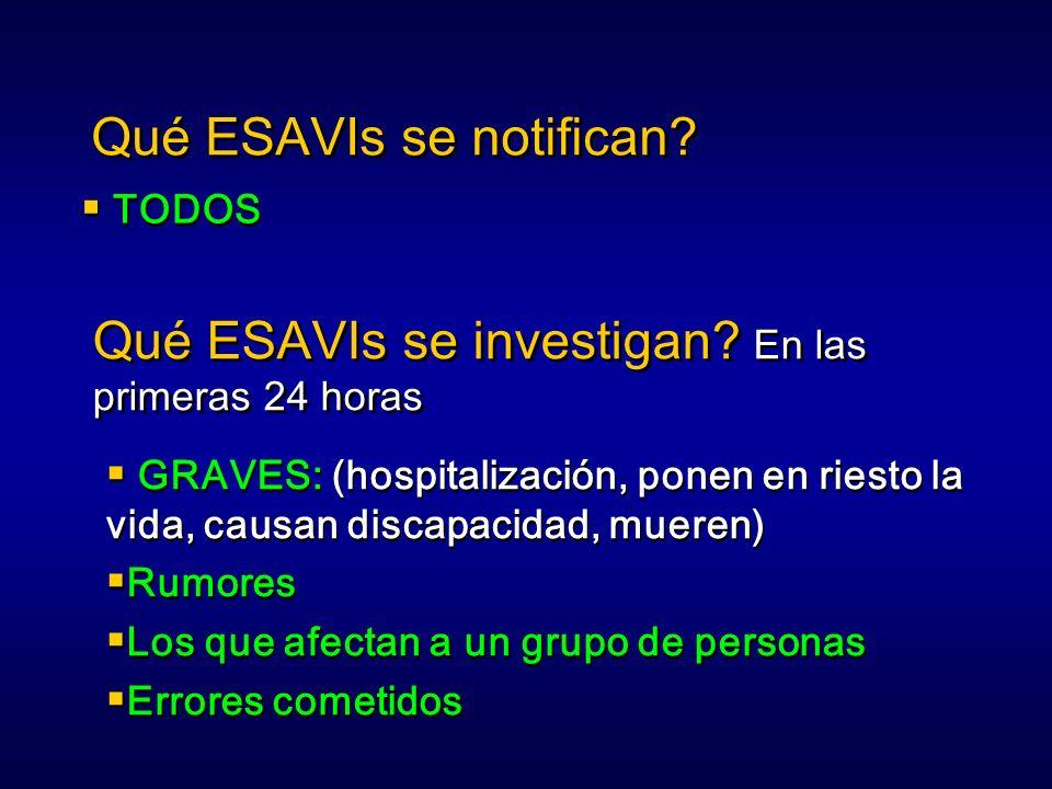 Qué ESAVIs se notifican