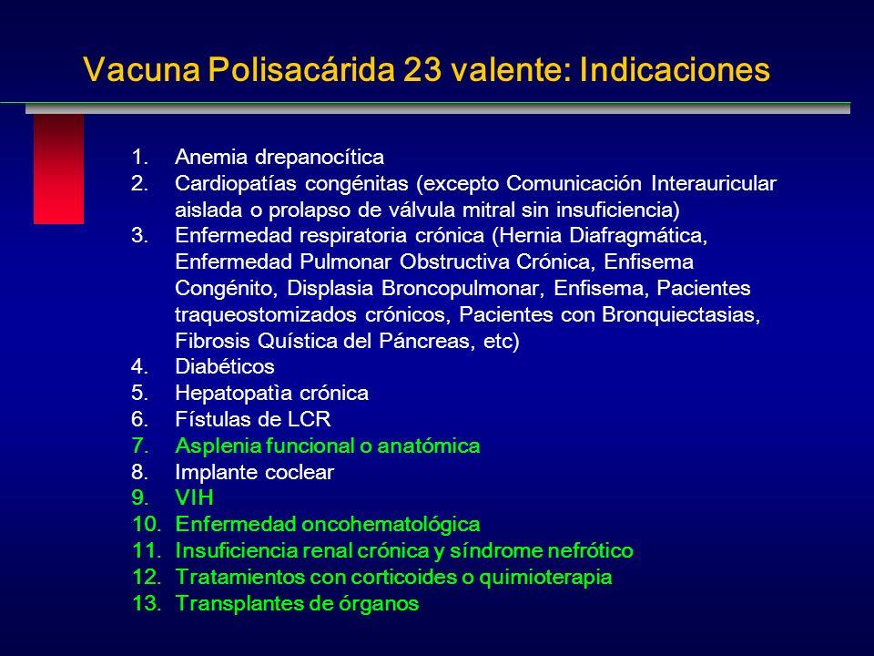 Vacuna Polisacárida 23 valente: Indicaciones