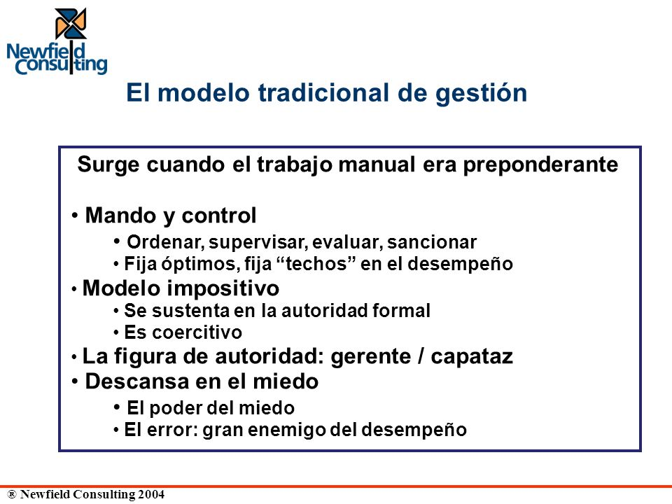 El modelo tradicional de gestión