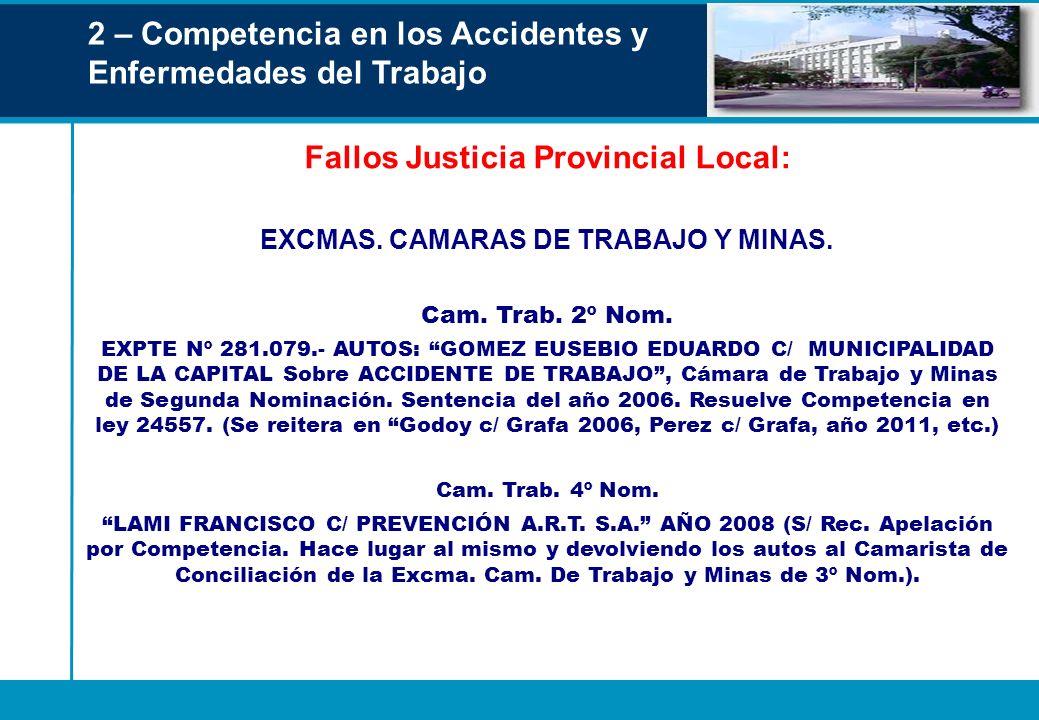 Fallos Justicia Provincial Local: EXCMAS. CAMARAS DE TRABAJO Y MINAS.