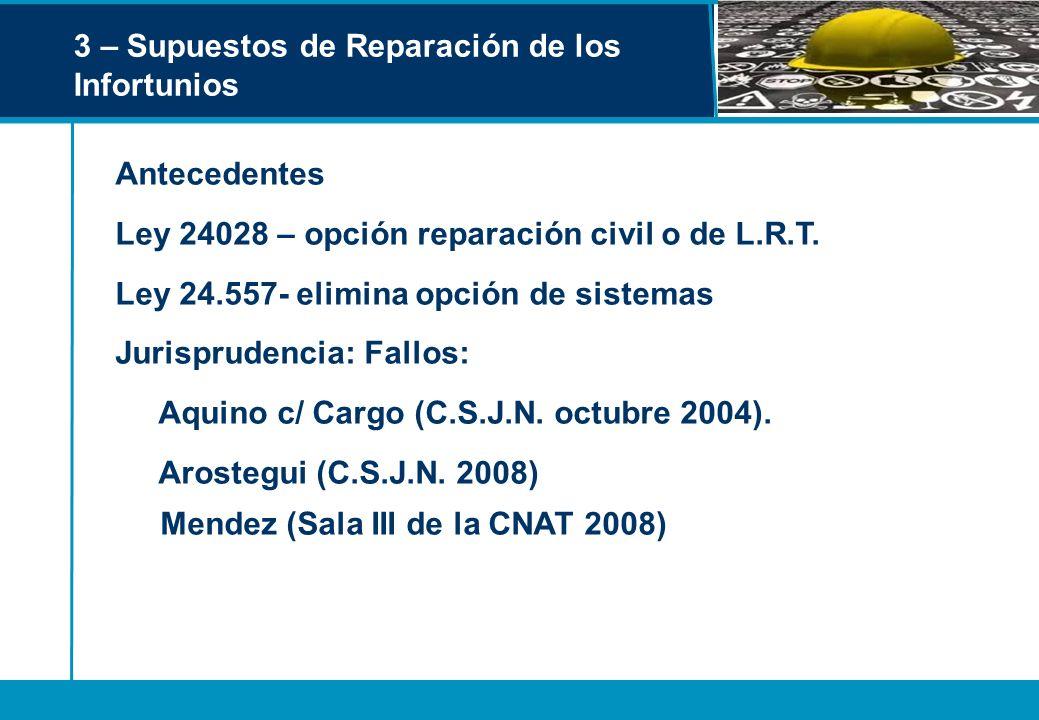3 – Supuestos de Reparación de los Infortunios