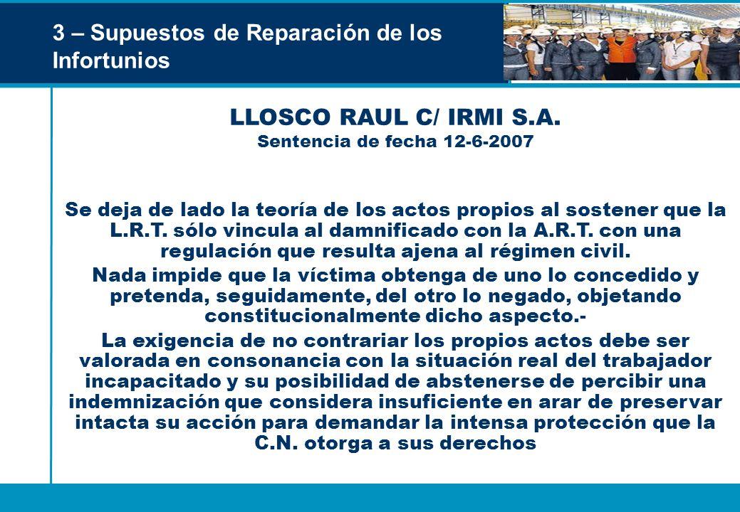 LLOSCO RAUL C/ IRMI S.A. Sentencia de fecha 12-6-2007