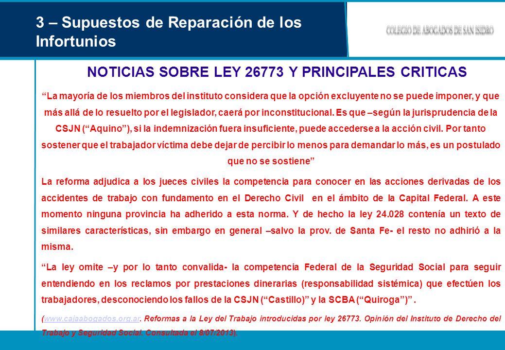 NOTICIAS SOBRE LEY 26773 Y PRINCIPALES CRITICAS
