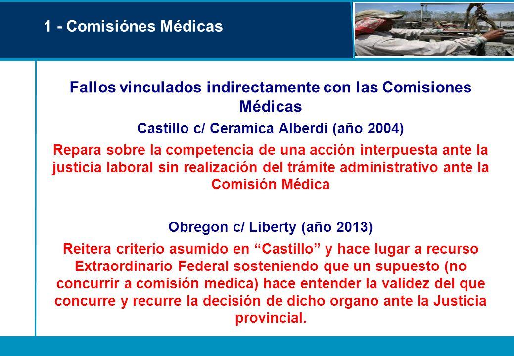 Fallos vinculados indirectamente con las Comisiones Médicas