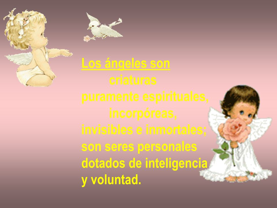Los ángeles son criaturas puramente espirituales, incorpóreas, invisibles e inmortales; son seres personales dotados de inteligencia y voluntad.