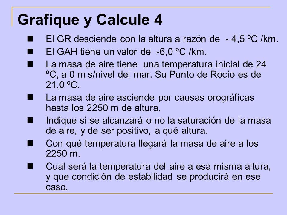 Grafique y Calcule 4 El GR desciende con la altura a razón de - 4,5 ºC /km. El GAH tiene un valor de -6,0 ºC /km.