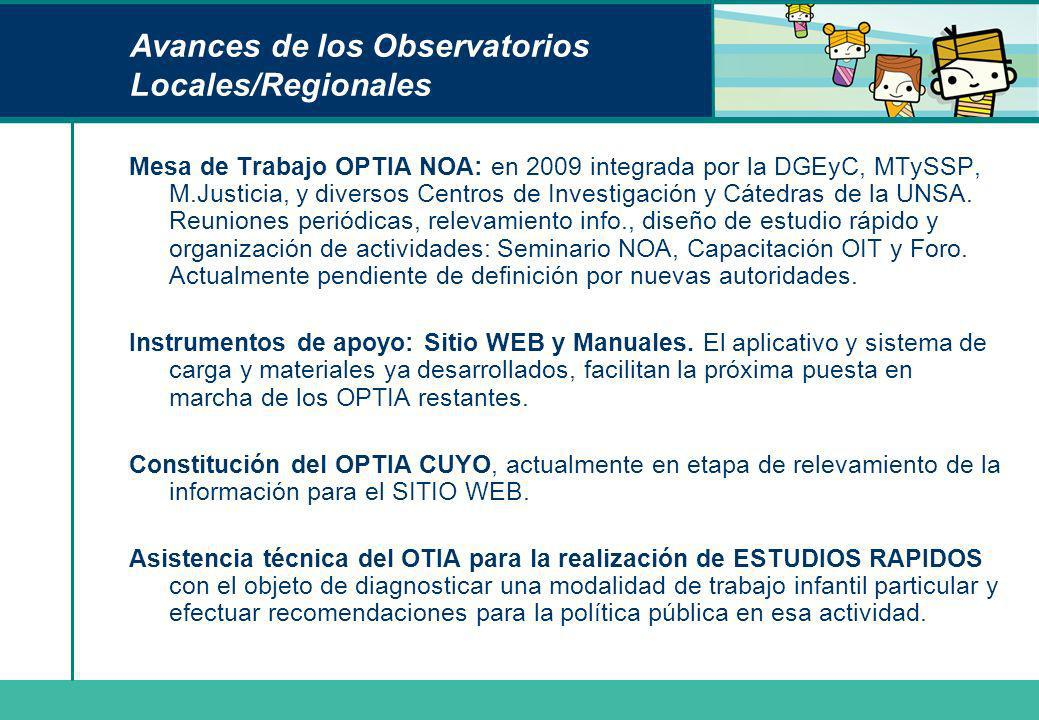 Avances de los Observatorios Locales/Regionales