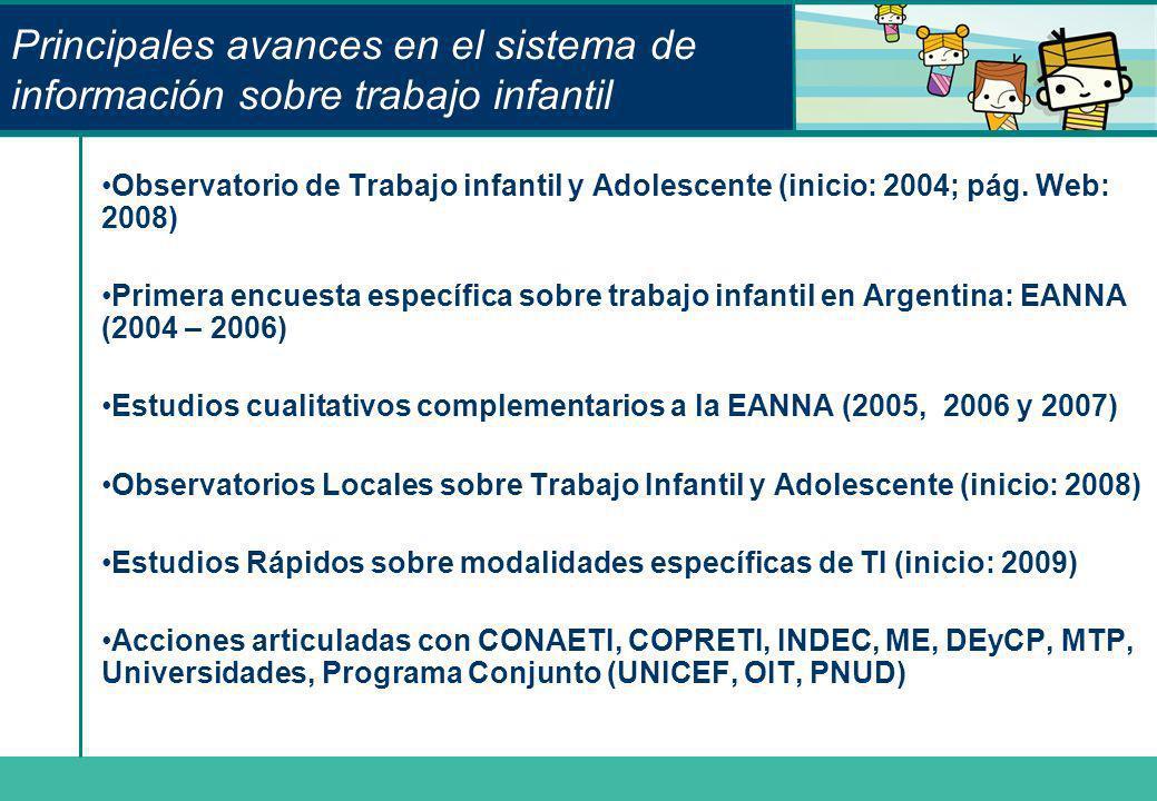 Principales avances en el sistema de información sobre trabajo infantil