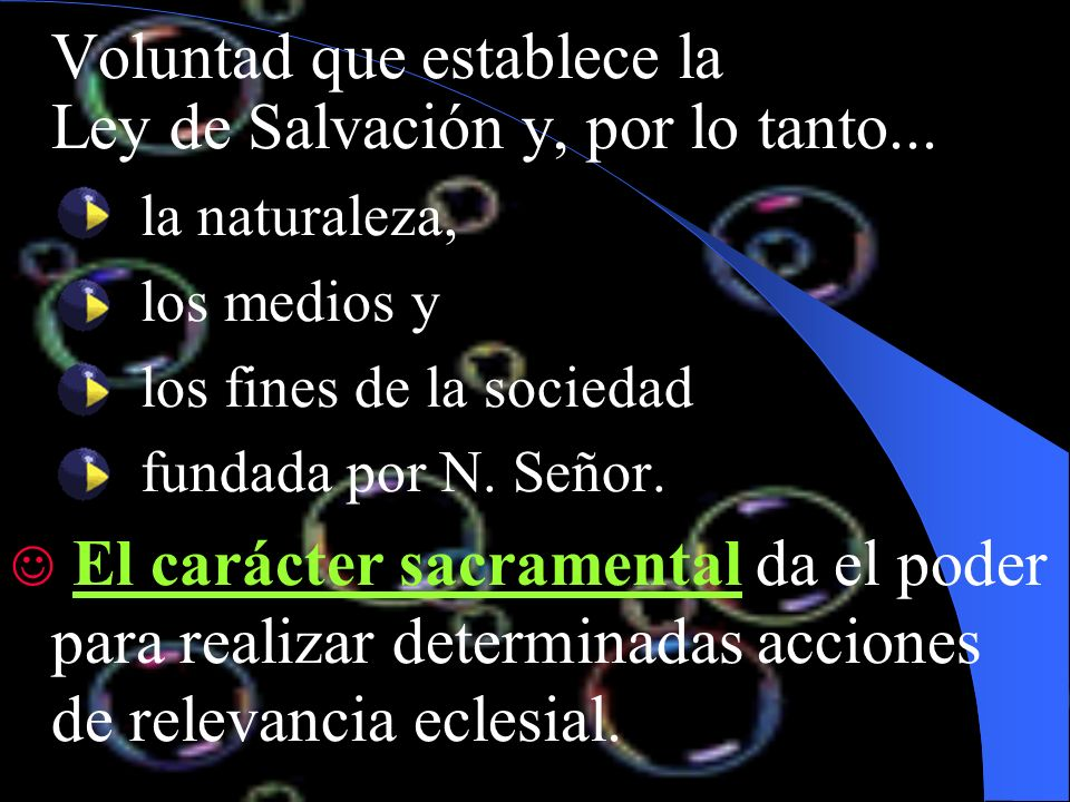 Voluntad que establece la Ley de Salvación y, por lo tanto...