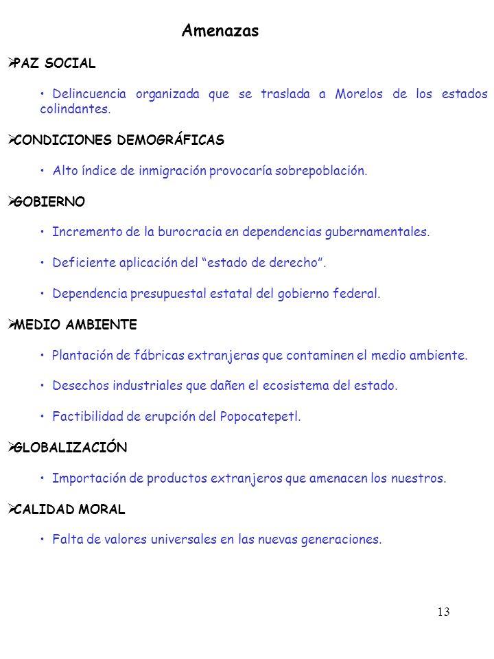 Amenazas PAZ SOCIAL. Delincuencia organizada que se traslada a Morelos de los estados colindantes.