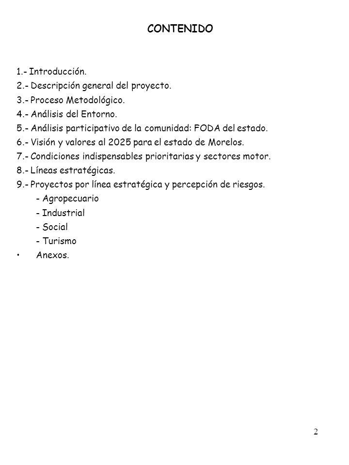 CONTENIDO 1.- Introducción. 2.- Descripción general del proyecto.