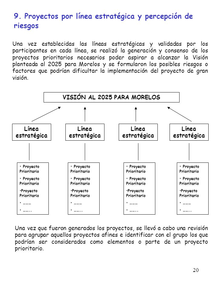 9. Proyectos por línea estratégica y percepción de riesgos