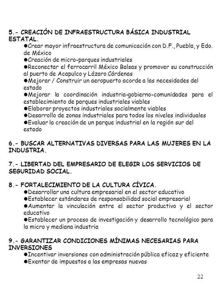 5.- CREACIÓN DE INFRAESTRUCTURA BÁSICA INDUSTRIAL ESTATAL.