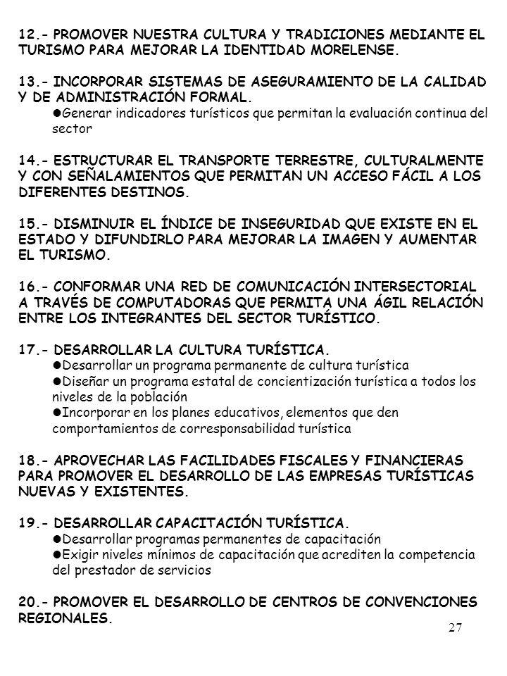 12.- PROMOVER NUESTRA CULTURA Y TRADICIONES MEDIANTE EL TURISMO PARA MEJORAR LA IDENTIDAD MORELENSE.