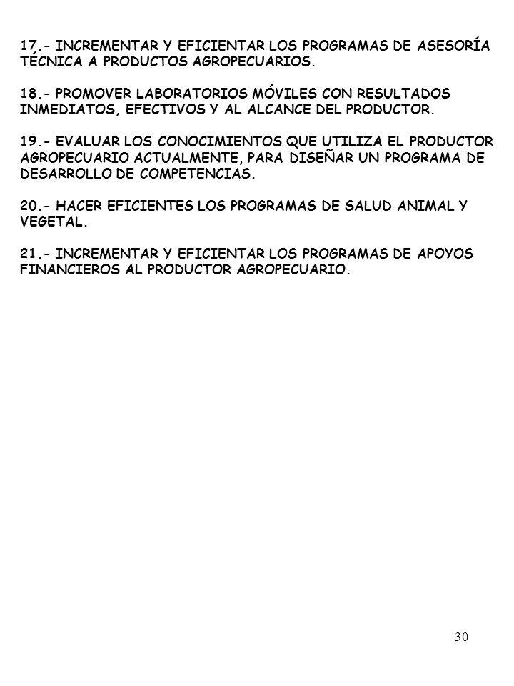 17.- INCREMENTAR Y EFICIENTAR LOS PROGRAMAS DE ASESORÍA TÉCNICA A PRODUCTOS AGROPECUARIOS.