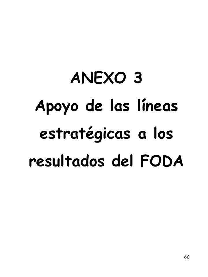 ANEXO 3 Apoyo de las líneas estratégicas a los resultados del FODA