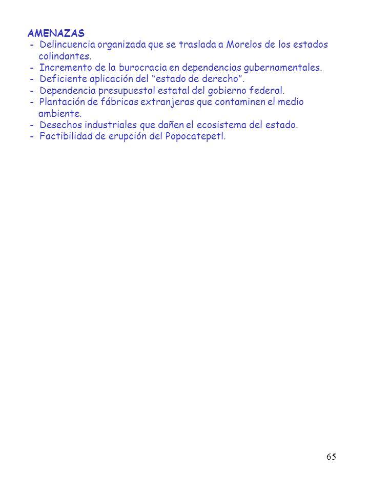 AMENAZAS - Delincuencia organizada que se traslada a Morelos de los estados. colindantes.