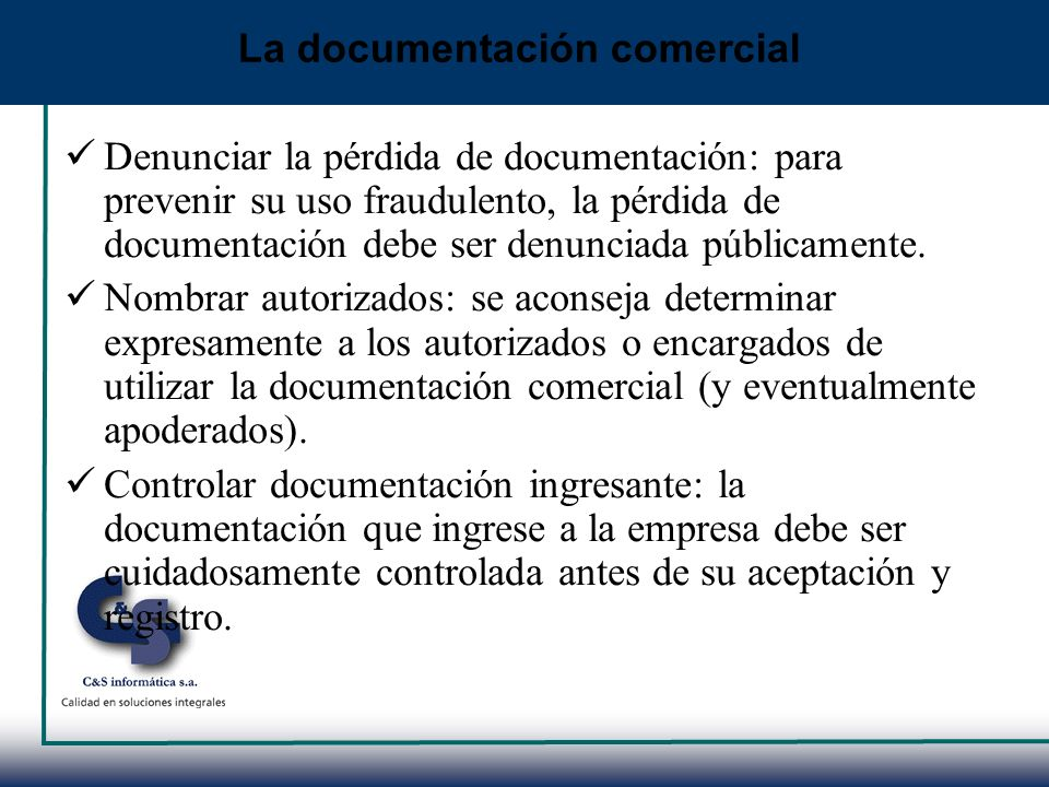 La documentación comercial
