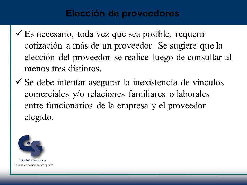 Elección de proveedores