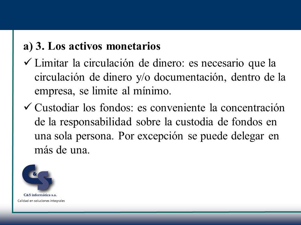 a) 3. Los activos monetarios
