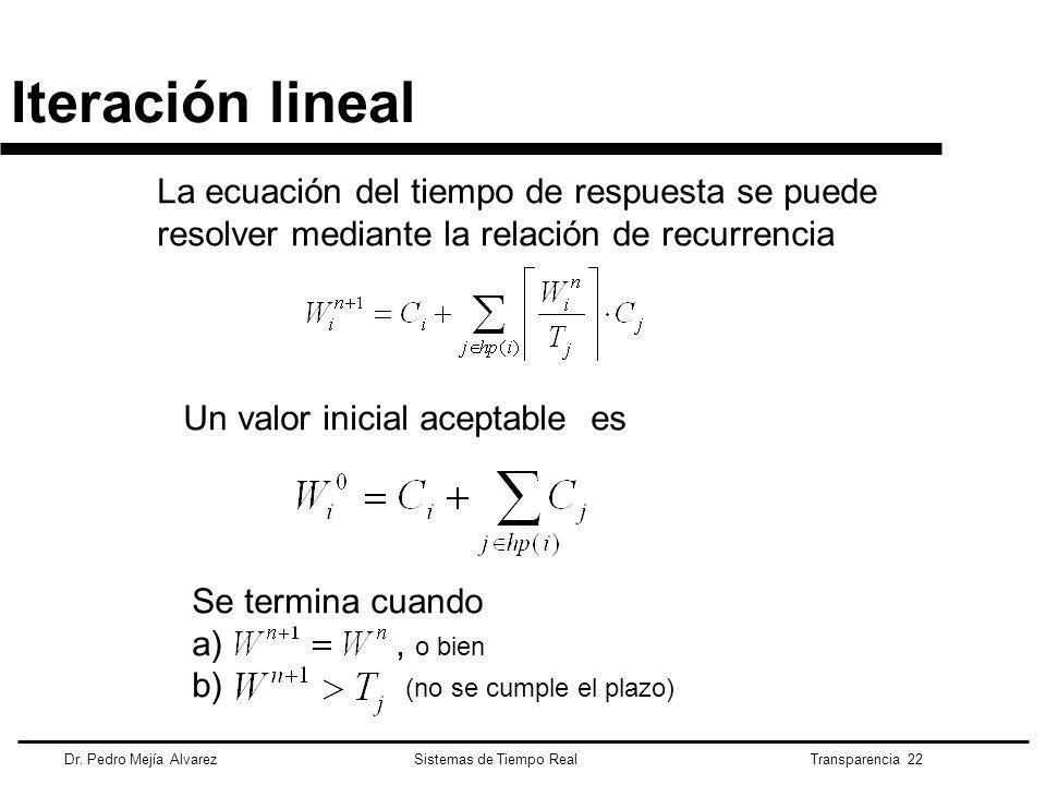 Iteración lineal La ecuación del tiempo de respuesta se puede