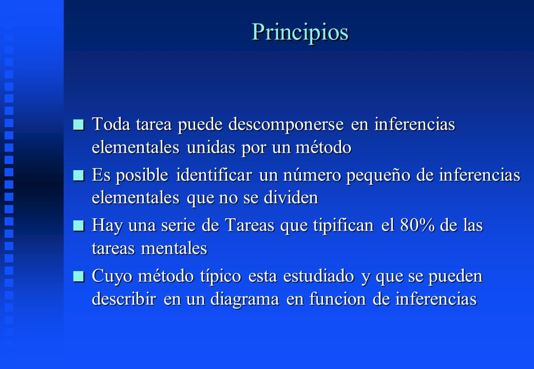 Principios Toda tarea puede descomponerse en inferencias elementales unidas por un método.