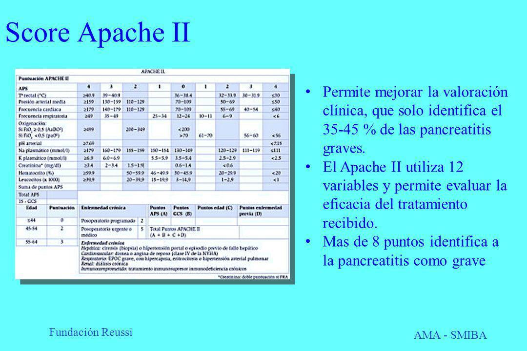 Score Apache II Permite mejorar la valoración clínica, que solo identifica el 35-45 % de las pancreatitis graves.