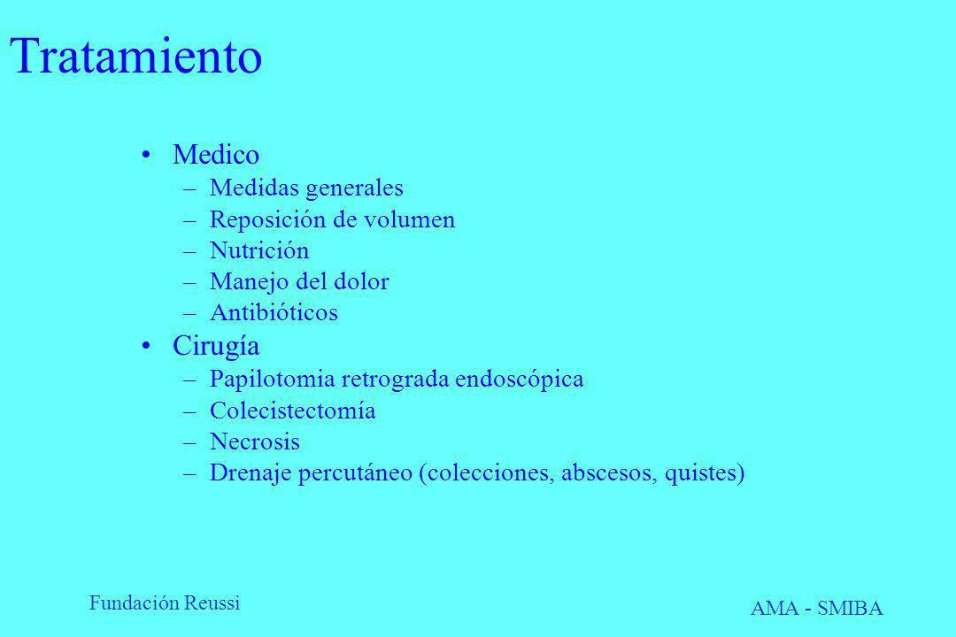 Tratamiento Medico Cirugía Medidas generales Reposición de volumen