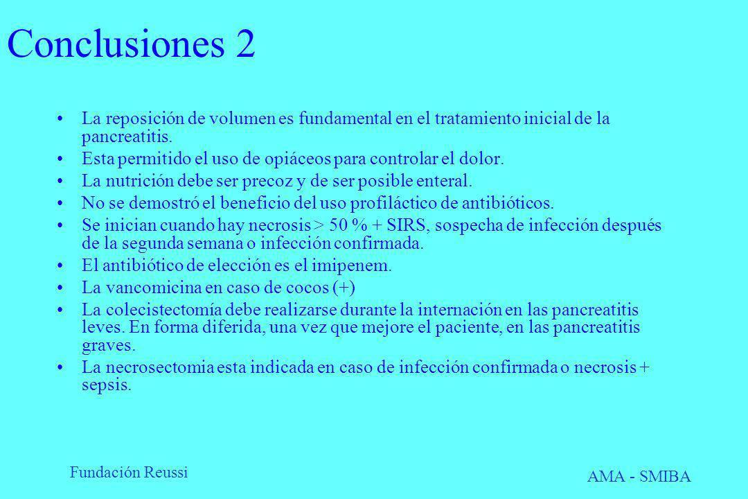 Conclusiones 2 La reposición de volumen es fundamental en el tratamiento inicial de la pancreatitis.