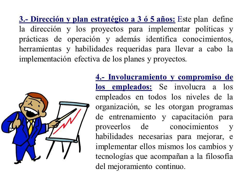 3.- Dirección y plan estratégico a 3 ó 5 años: Este plan define la dirección y los proyectos para implementar políticas y prácticas de operación y además identifica conocimientos, herramientas y habilidades requeridas para llevar a cabo la implementación efectiva de los planes y proyectos.