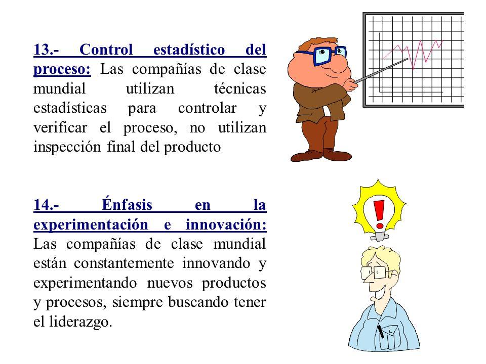 13.- Control estadístico del proceso: Las compañías de clase mundial utilizan técnicas estadísticas para controlar y verificar el proceso, no utilizan inspección final del producto