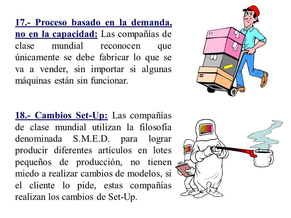 17.- Proceso basado en la demanda, no en la capacidad: Las compañías de clase mundial reconocen que únicamente se debe fabricar lo que se va a vender, sin importar si algunas máquinas están sin funcionar.