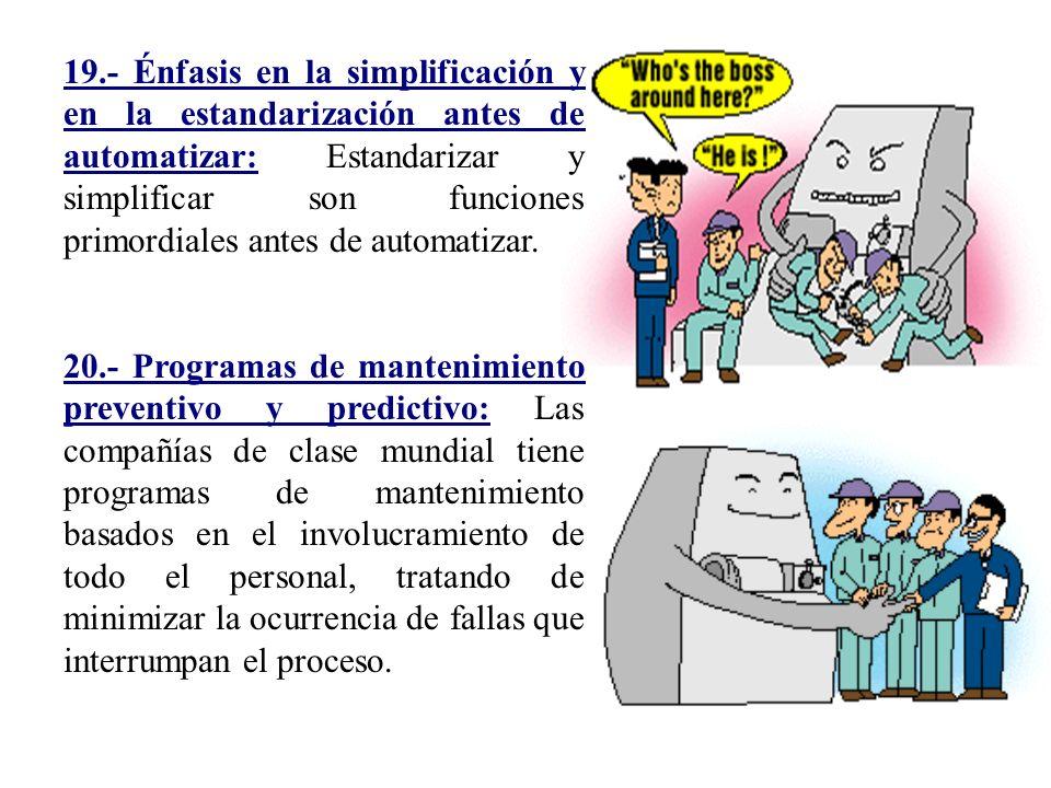 19.- Énfasis en la simplificación y en la estandarización antes de automatizar: Estandarizar y simplificar son funciones primordiales antes de automatizar.