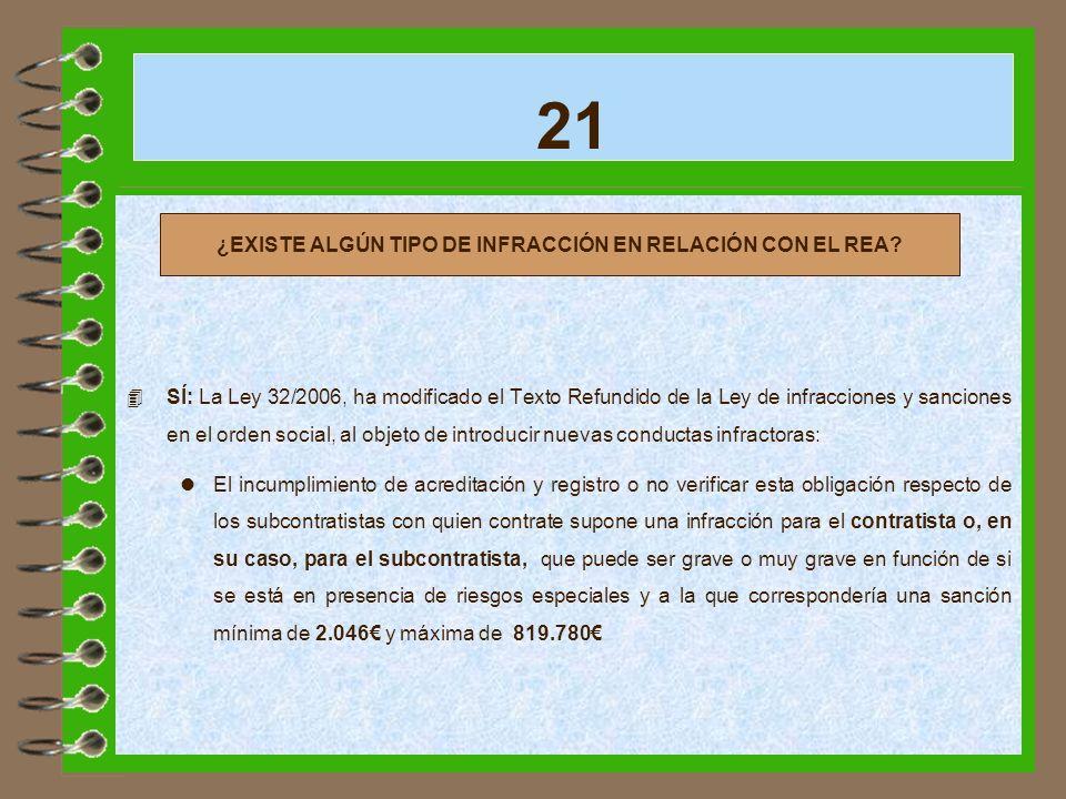 ¿EXISTE ALGÚN TIPO DE INFRACCIÓN EN RELACIÓN CON EL REA
