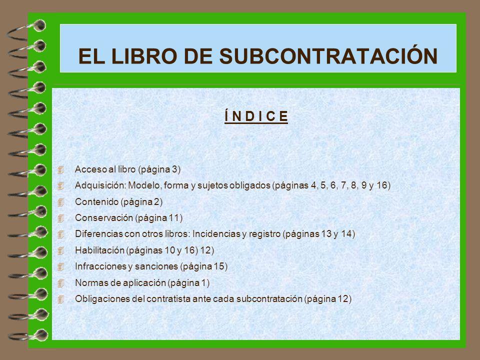 EL LIBRO DE SUBCONTRATACIÓN