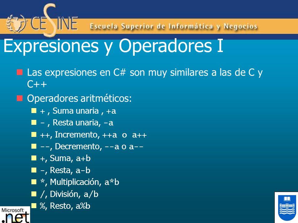 Expresiones y Operadores I