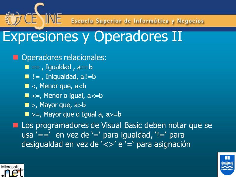 Expresiones y Operadores II