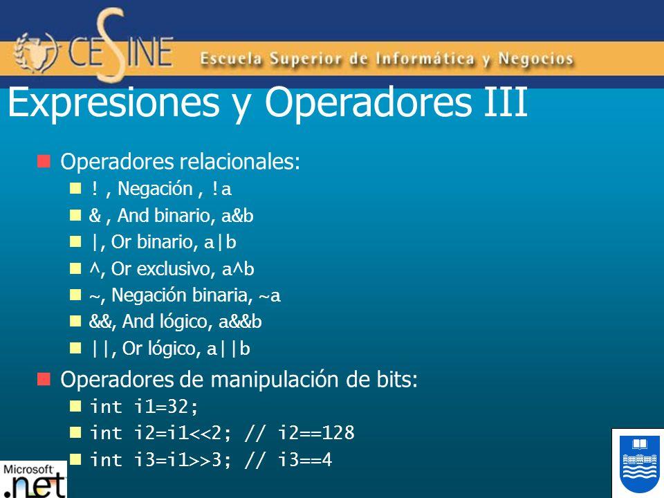 Expresiones y Operadores III